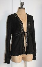 ANTHROPOLOGIE SWEATER BY HAZEL BLACK GOTHIC LACE AND SEQUIN ACCENT CARDIGAN