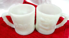 vintage set of 2 Grog,white milk glass coffee mugs