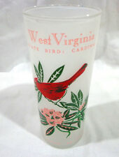 vintage 1960's frosted west Virginia state bird ,state flower glass