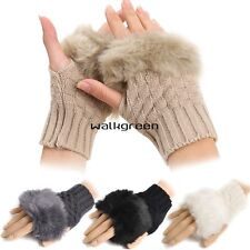 Women Winter New Faux Rabbit Fur/Villi Gloves Arm Warmer Fingerless Wrist WN