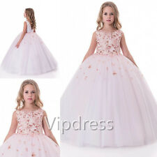 Flower Girl Dresses Lace Appliques Flowers Floor Length Pageant Prom Ball Gowns