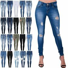 Womens Ladies Stud Bead Destroyed Ripped Embroidered Slim Skinny Fit Denim Jeans