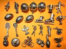 Vintage sterling silver charms SPORT Football Rugby Tennis Skating Golf Soccer