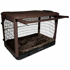 """Pet Gear """"The Other Door"""" Steel Dog Crates w/pad & carry/storage bag - Chocolate"""