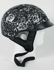 Matte Black Skull  DOT Vented Biker Bone Shorty Half Motorcycle Helmet S M L XL