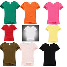 Ladies T-Shirt Solid Color Tops T Shirt Short Sleeve Color Tops Womens O-neck