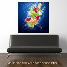 Wall Art Canvas Print Fruits and Ice cubes-Unframed