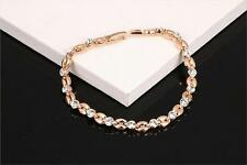 Rose Gold Plated Bracelet Wedding Tennis made with Swarovski Crystal Elements