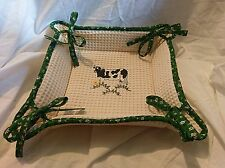 Embroidered Bread Basket Soft NEW Country Farm Kitchen Rooster Chick Cow Chicken