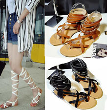 Womens Flat Knee High Gladiator Thong Sandals Strappy Beach Cut Out Sandal Boots