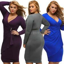 New Women Oversized Dress V Neck Long Sleeve Cocktail Party Plus Size Dress G1B0