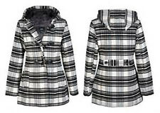 Womens Check Hoody Hooded Jacket Black And White Ladies Toggle Duffle Coat 8-14