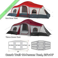 10 Person Ozark Trail Cabin Tents 3Room 20x10' Large Family Outdoor Camping Tent