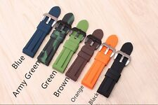 24mm Silicone Rubber Waterproof Wrist Watch Band Pre Screw in Buckle for PAM
