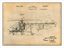 1940 Sikorsky Helicopter Patent Print Art Drawing Poster 18X24