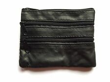 Womens Mens Black Leather 4 Zip Coin Purse Wallet Money Key Holder New