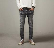 NWT Mens Slim Denim Zi pper Pants Washed Jeans Ripped Holes Washing Trousers