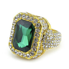 18K Gold Plated Mens Iced Out Cz Micropave Green Bling Ladies Bling Ring Pimp