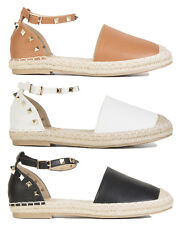 Womens Ladies Stud Styled Espadrilles Stud Strap Around Ankle Summer Shoes Size