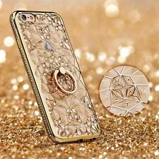 Luxury 3D Electroplating Flower Rhinestone Bling TPU Case for iPhone Ring Holder