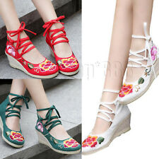 Womens Embroidery Pumps Canvas Espadrille  Wedges Heel Shoes Ankle Strap Sandals