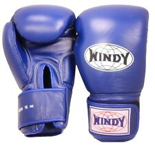 WINDY MUAY THAI BOXING GLOVES -BGVF-BLUE -100% LEATHER-QUALITY -MADE IN THAILAND
