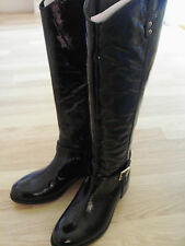NEW FAITH Knee High Patent Leather Boots UK Size 4