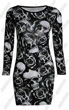 New Ladies Skull Rose Printed Long Sleeve Stretchy Tunic Bodycon Mini Dress Top