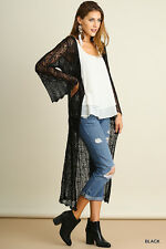 Umgee USA Size S M L Bell Sleeve Crochet Lace Open Front Cardigan Boho BLACK NEW