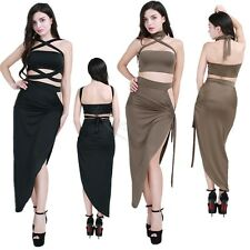 Sexy Women Two-Piece Bodycon Crop Top Skirt Club Party Bandage Short Mini Dress