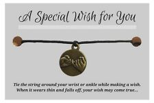WISH BRACELET / ANKLET Antique Bronze Tone Pinky Promise Charm Hemp Friendship