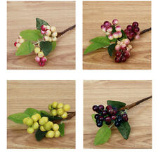 Artificial Floral Berry Leaf Fake Flower Bouquet Home Wedding Party Decor