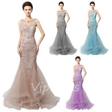 Mermaid Evening Dresses Sheer Neck Beading Open Back Tulle Train Prom Gowns 2017