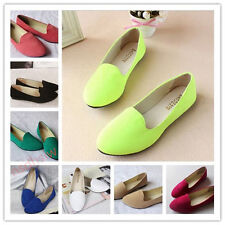 Women Lady Boat Shoe Casual Flat Ballet Slip On Flats Loafers Single Suede Shoes