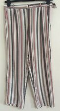 NEW Ex NEW LOOK  Stripe Tie Up Waist Cropped Casual Work Trousers Size 10-18