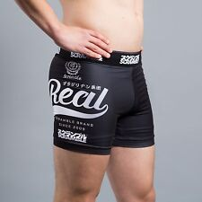 "Scramble "" Real "" Vale Tudo Shorts Black No Gi Grappling MMA Fight Jiu Jitsu"