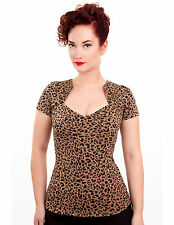 STEADY CLOTHING LEOPARD SOPHIA TOP BNWT UK 8 -14 PIN UP VINTAGE CHERRY DOLLFACE