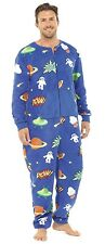 Tom Franks Men's Space Comic Print Fleece Onesie All In One Sleepsuit Pyjamas