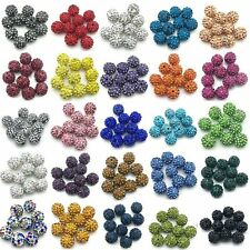 100 Pcs Crystal Shamballa Beads Pave Disco Balls Bracelet Making Spacer 10mm