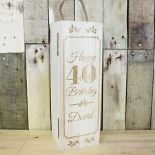 Personalised Wooden Wine Bottle Box, Engraved Champagne 40th Birthday Gift 30th