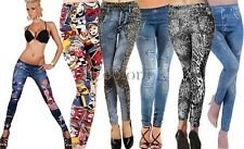 New Women's Denim Look Ripped Faux Jean Leggings CO9902