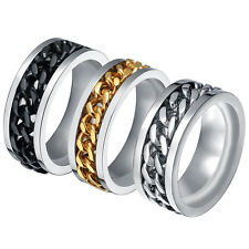 Fashion Mens Stainless Steel Silver/Black/Gold Rotatable Chain Band Ring Sz 6-12
