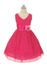 New Fuchsia Hot Pink  Chiffon Flower Girls Dress Easter Christmas Graduation