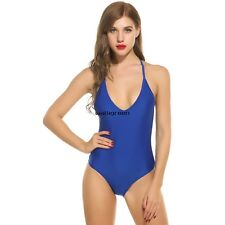 Women Sexy V-Neck Padded Lace Up One Piece Backless Swimsuit Swimwear WN01