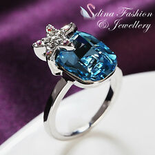 18K White Gold Plated Made With Genuine Swarovski Crystal Aquamarine Star Ring