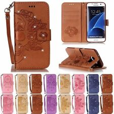 Bling Skull ID Wallet Leather Flip Case Cover Stand Card For Samsung S3 4 5 6 S7
