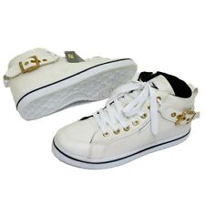WOMENS WHITE LACE-UP TRAINER HIDDEN WEDGE BASEBALL ANKLE BOOTS SHOES SIZES 3-8