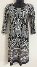 NEW Ex WALLIS Size 8-20 Grey Abstract Print Border Hem Tunic Shift Body Dress