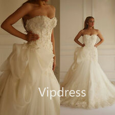 Mermaid Sweetheart Wedding Dresses Lace Appliques Beads Bridal Ruffles Gowns New