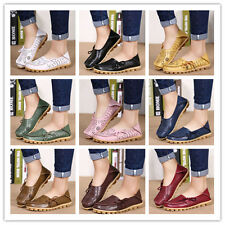 Womens Leather Flat Slip Casual Shoes Comfy  Loafers Walking Flats Moccasin